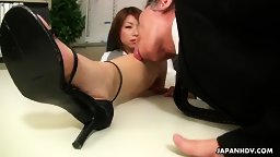 The office lady Tsubaki makes her old boss cum hardcore English Subbed